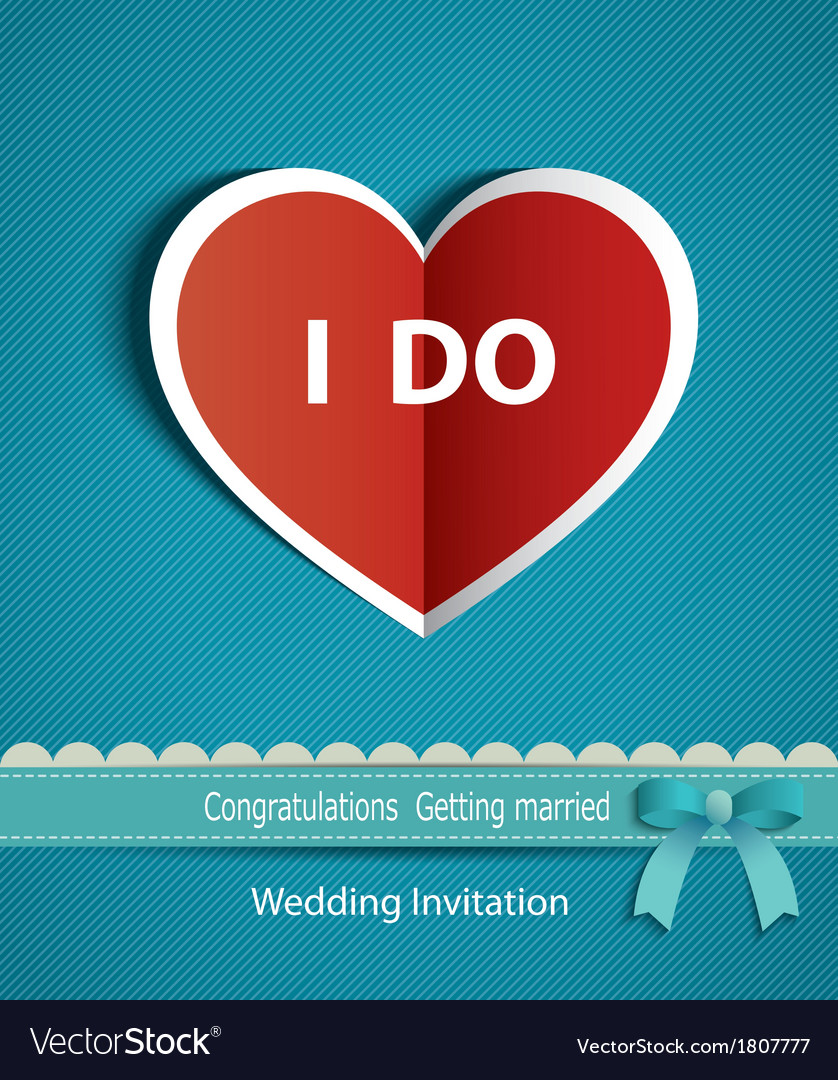 Wedding card in form of heart paper with ribbon vector | Price: 1 Credit (USD $1)