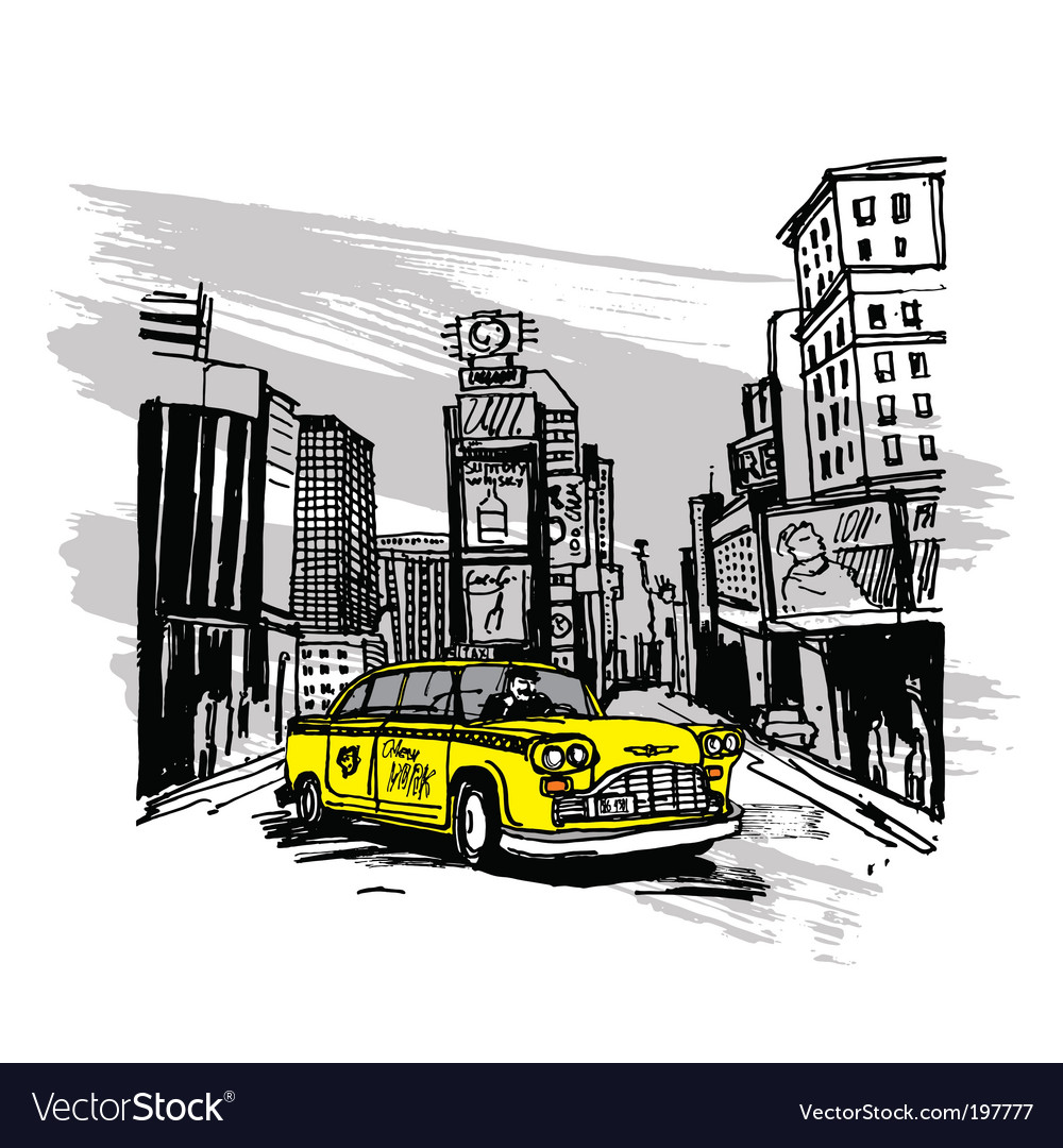 Yellow cab vector | Price: 3 Credit (USD $3)