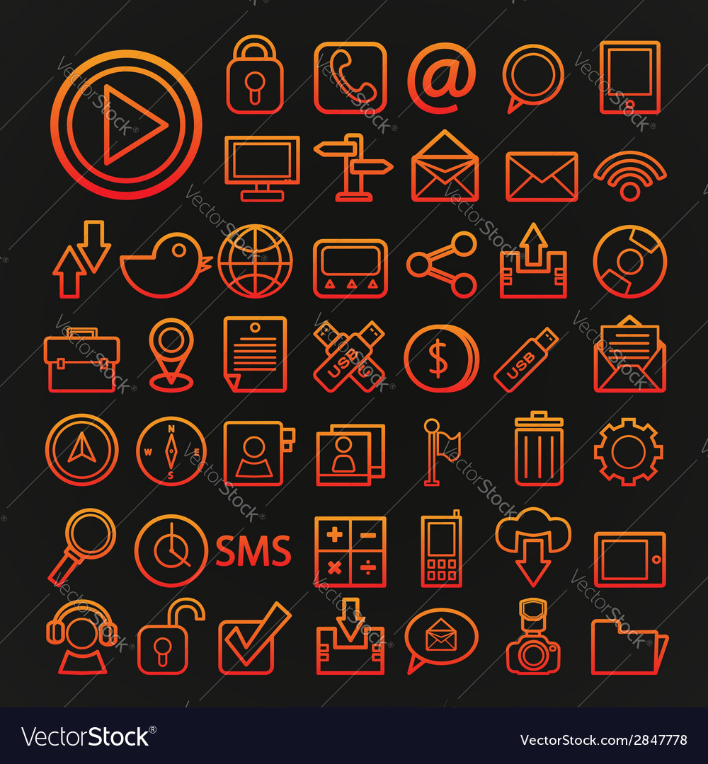 46 icons communication set vector | Price: 1 Credit (USD $1)