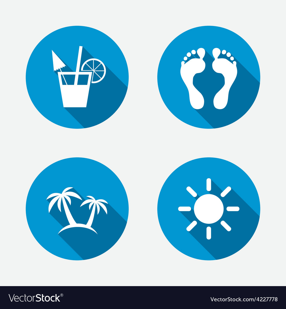 Beach holidays icons cocktail human footprints vector | Price: 1 Credit (USD $1)