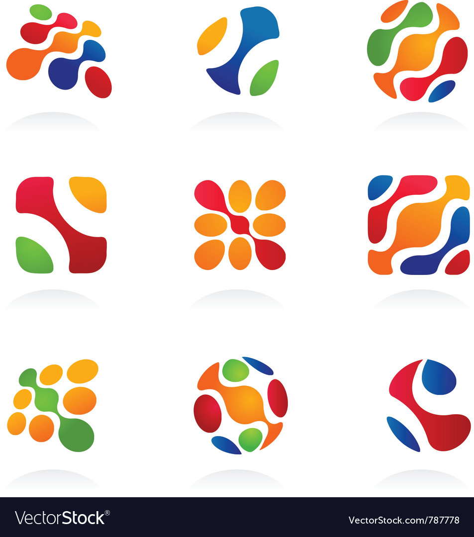 Business abstract icons colorful set vector | Price: 1 Credit (USD $1)