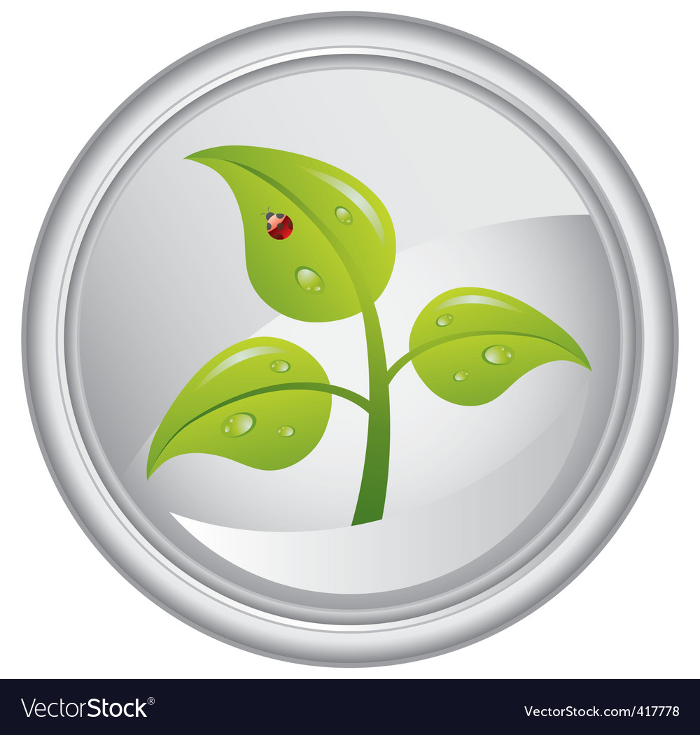 Button with a green tree vector | Price: 1 Credit (USD $1)