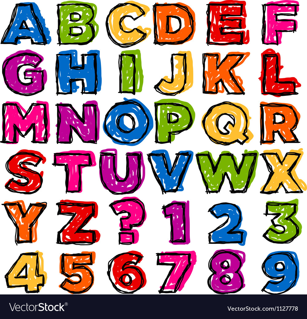Colorful doodle alphabet and numbers vector | Price: 1 Credit (USD $1)