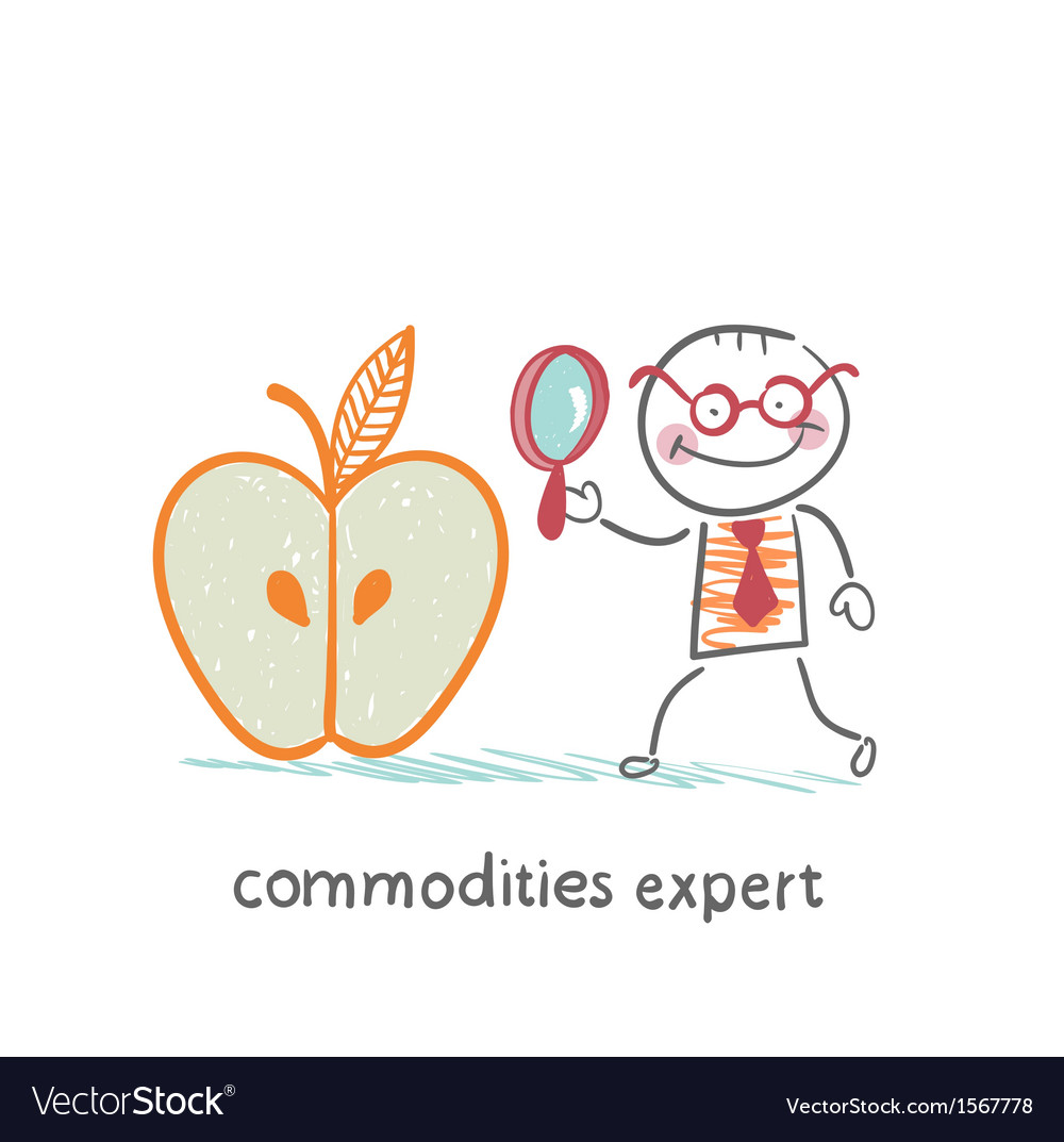 Commodities expert stands near the big apple and vector | Price: 1 Credit (USD $1)