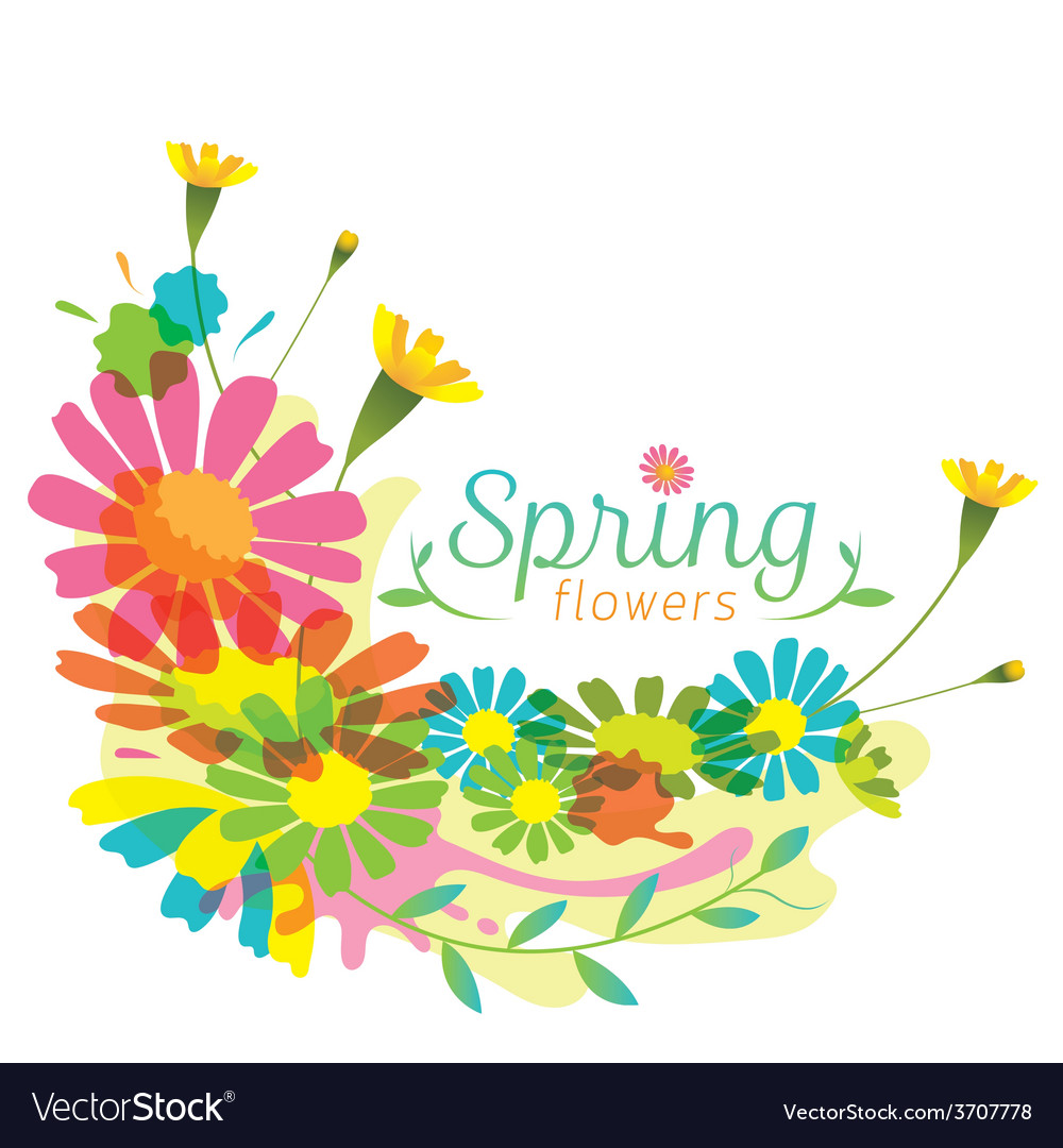 Flowers spring season heading vector | Price: 1 Credit (USD $1)