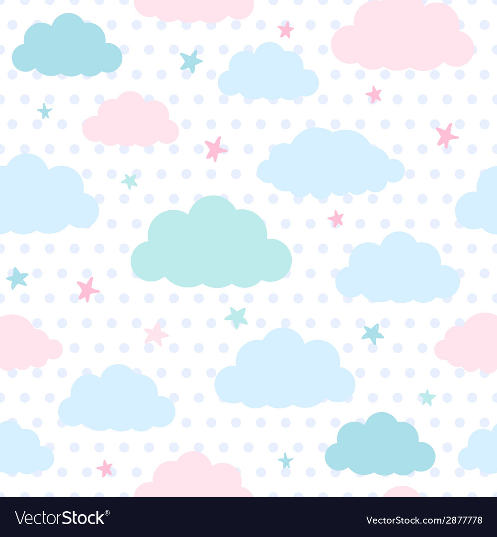 Kids background with clouds and stars vector | Price: 1 Credit (USD $1)