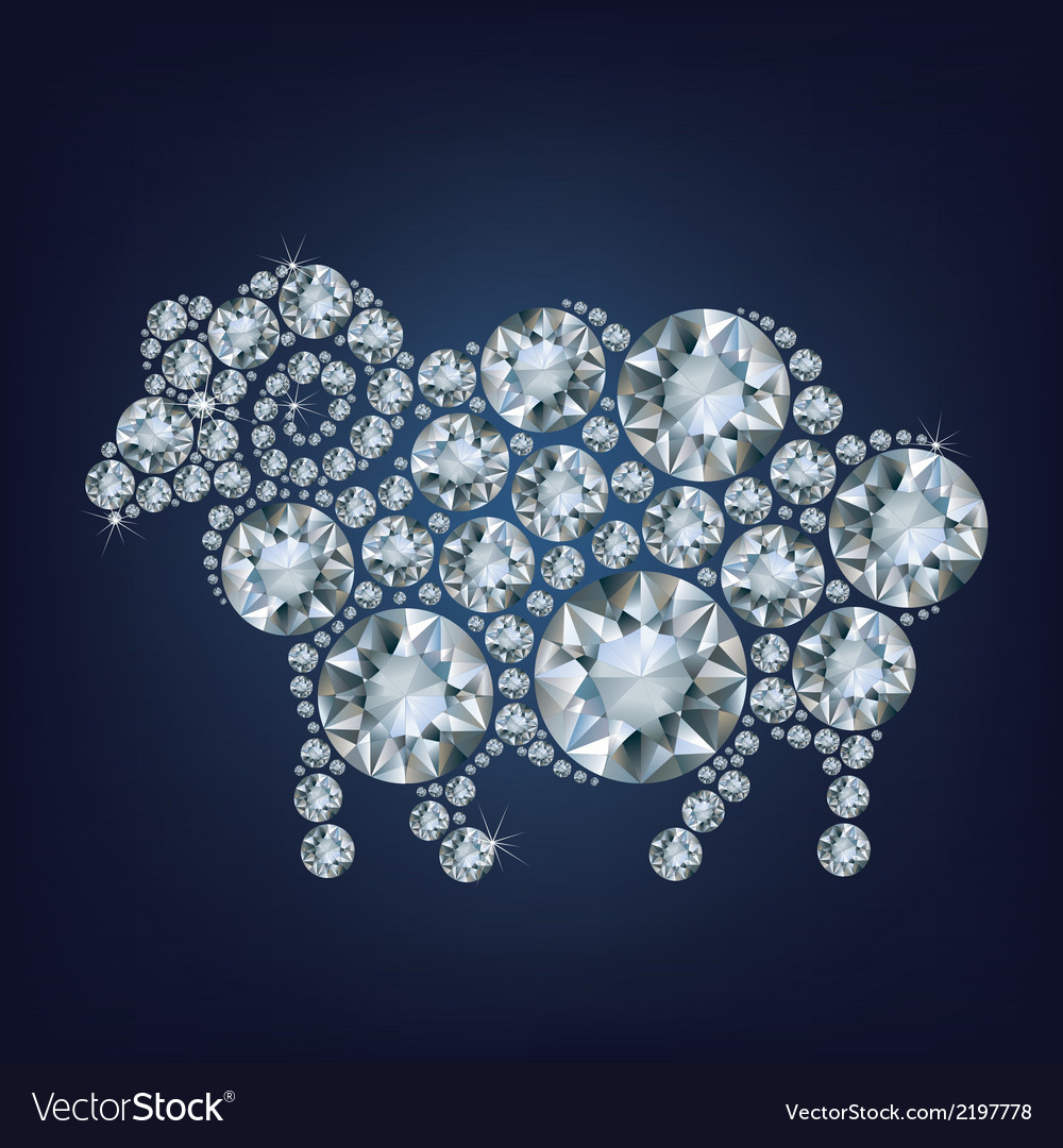 Sheep made up a lot of diamonds vector | Price: 1 Credit (USD $1)