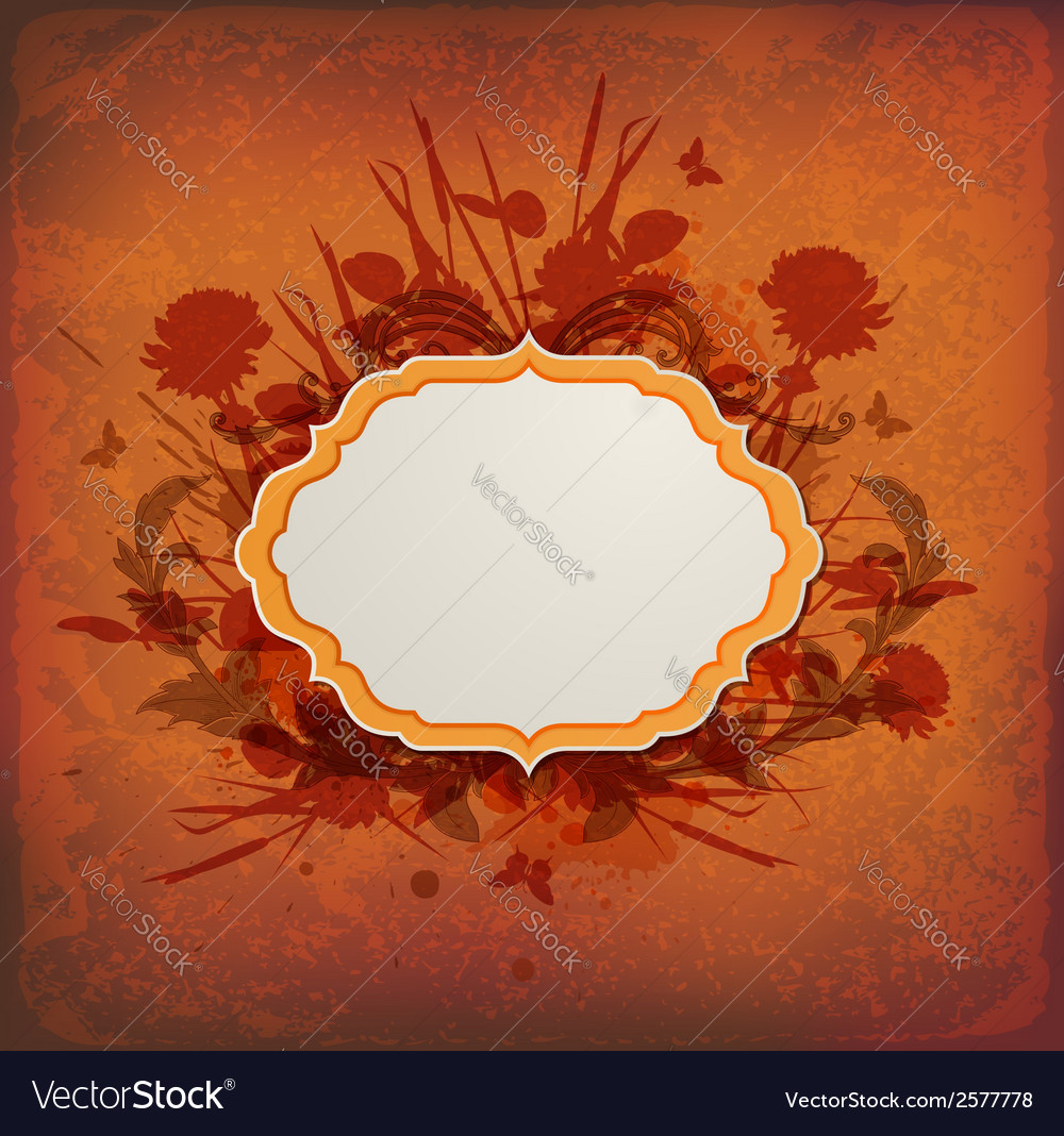 Vintage orange background with label vector | Price: 1 Credit (USD $1)
