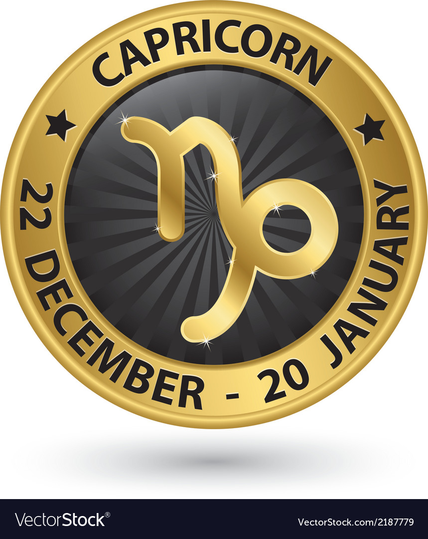 Capricorn zodiac gold sign virgo symbol vector | Price: 1 Credit (USD $1)