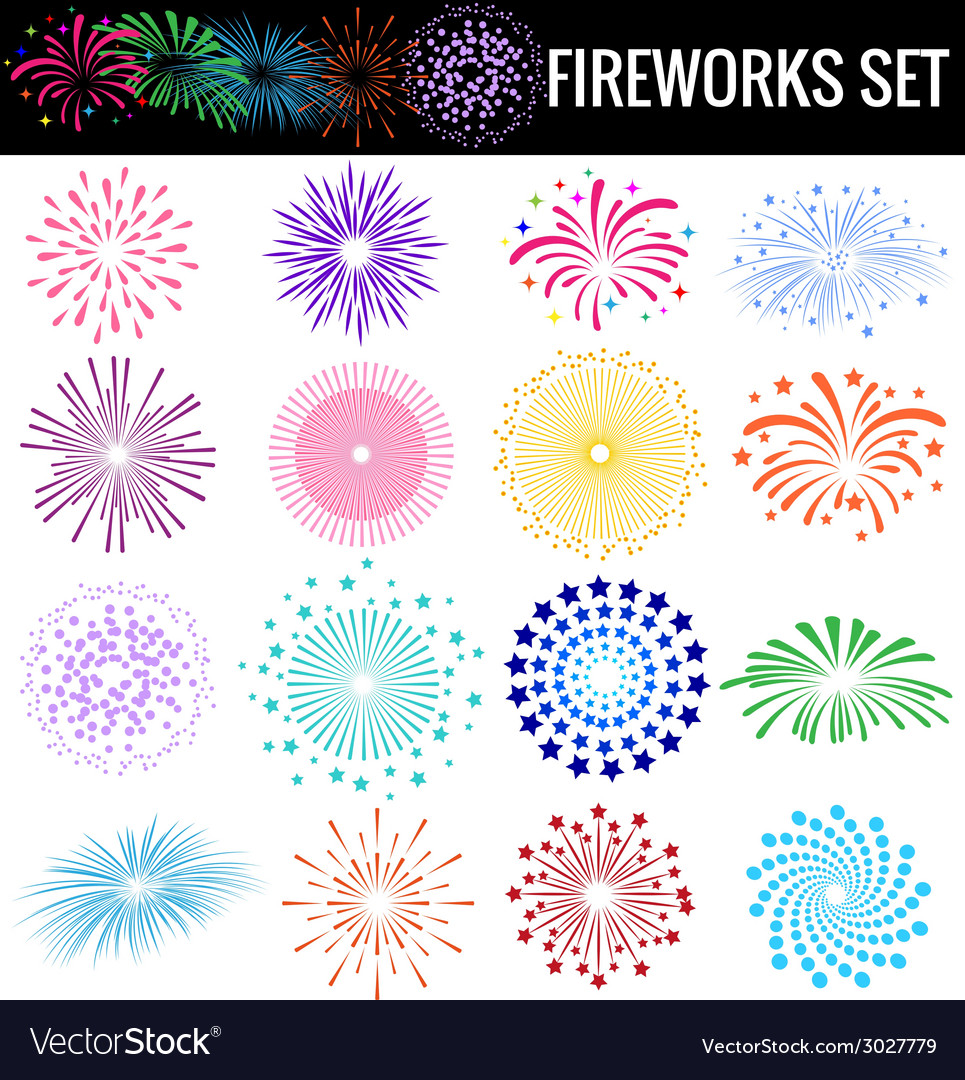 Colorful fireworks on white background vector | Price: 1 Credit (USD $1)