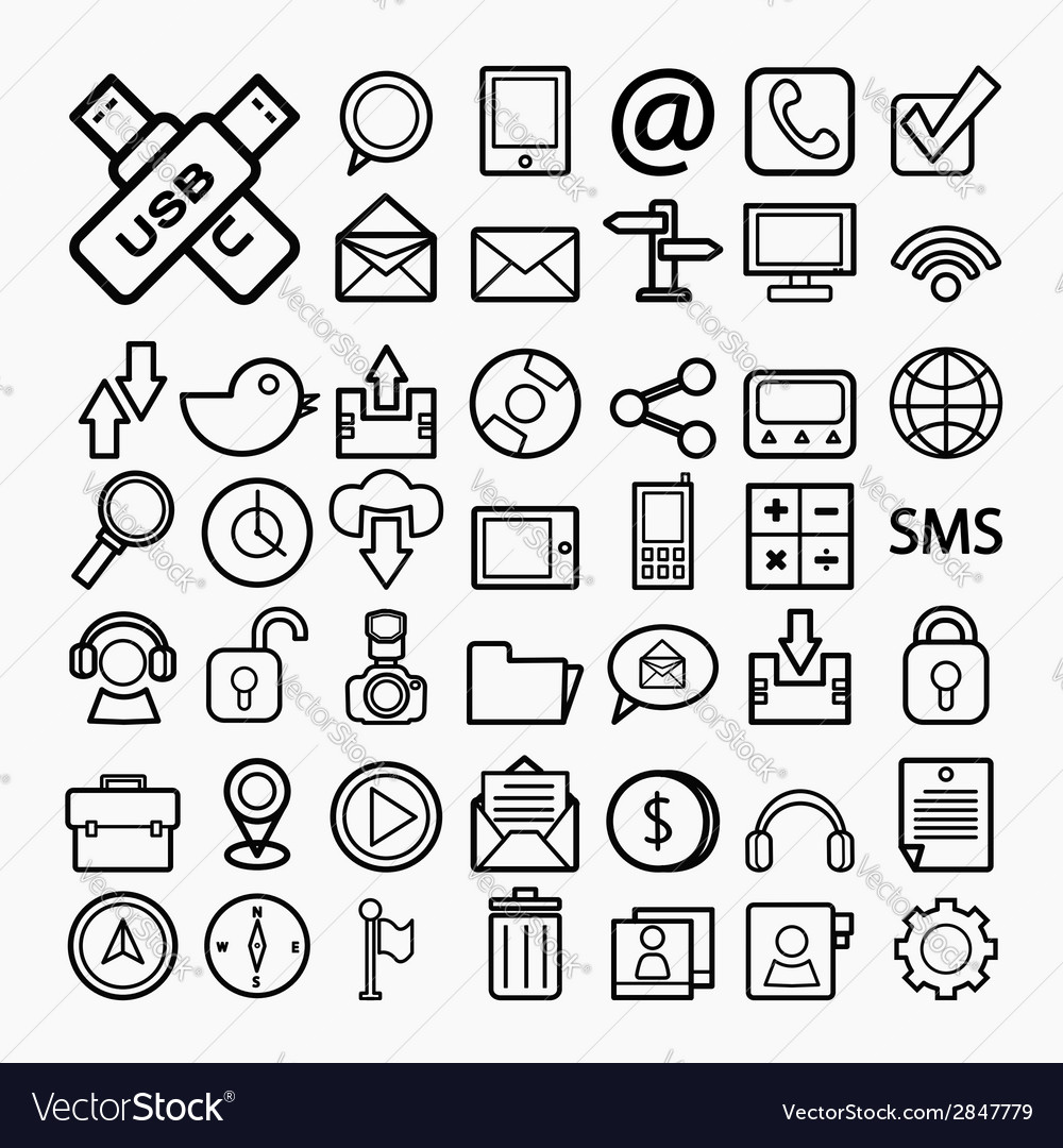 Communication icons on white paper eps10 vector | Price: 1 Credit (USD $1)