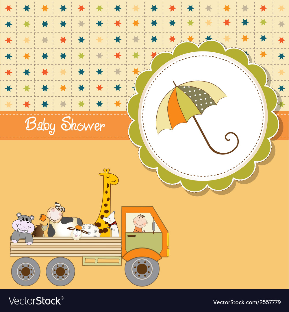Funny cartoon baby shower card vector | Price: 1 Credit (USD $1)