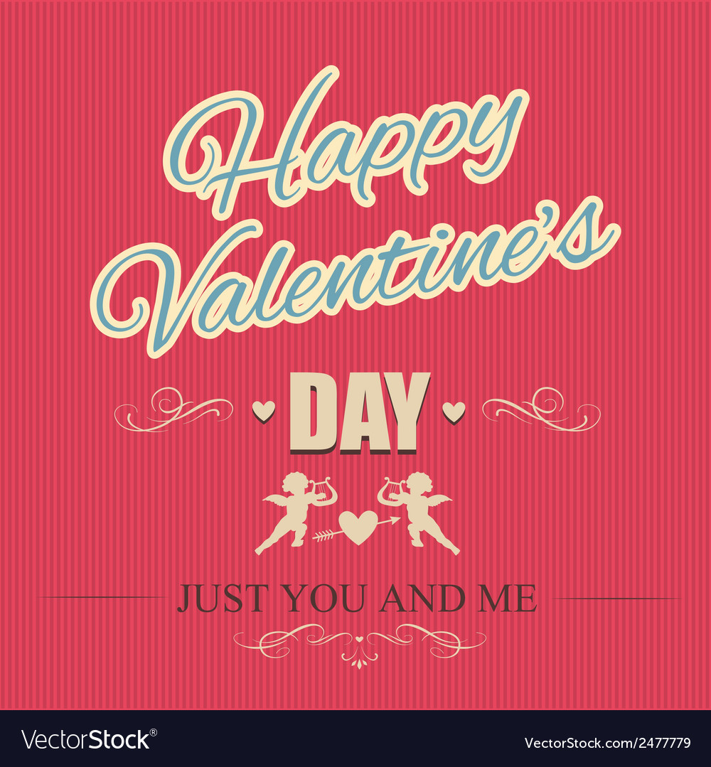 Happy valentines day card with cupids vector | Price: 1 Credit (USD $1)