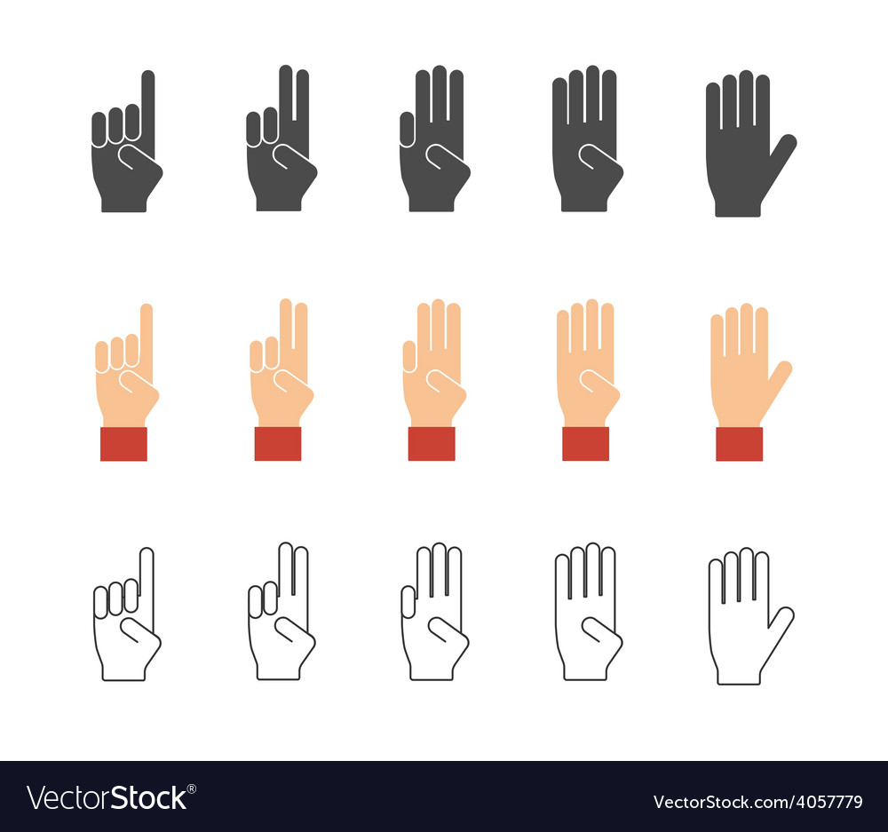 Numbers hand gesture icons vector | Price: 1 Credit (USD $1)
