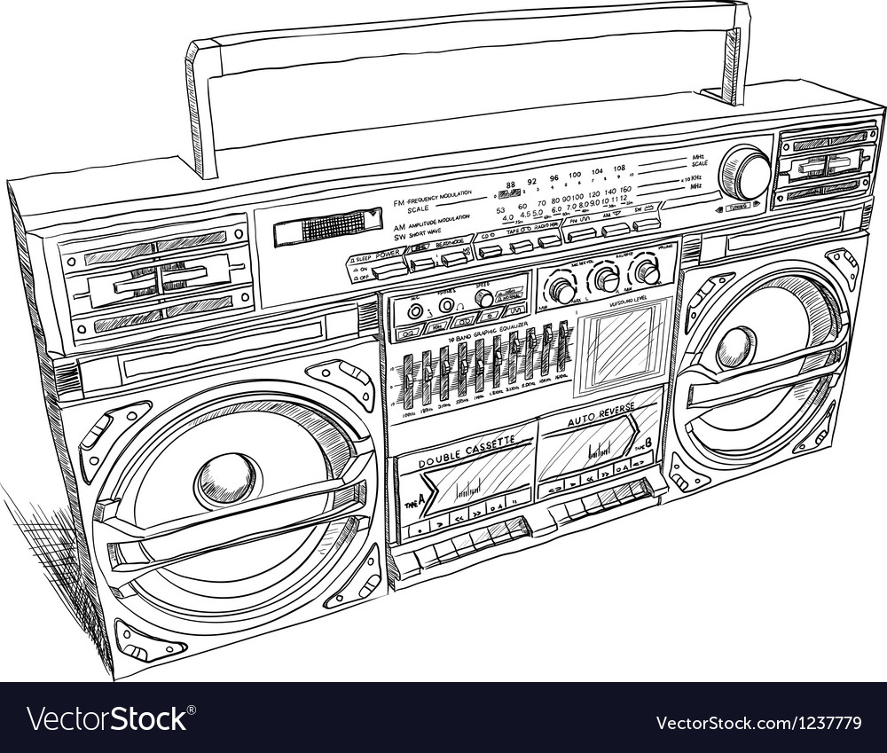 Oldschool boombox vector | Price: 1 Credit (USD $1)