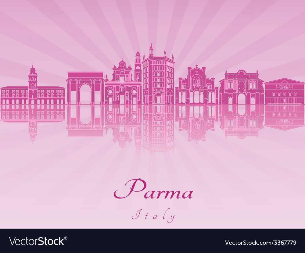 Parma skyline in purple radiant orchid vector | Price: 1 Credit (USD $1)