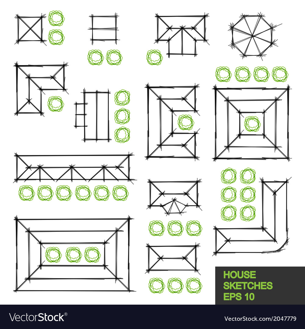Set of architectural linear sketches vector | Price: 1 Credit (USD $1)