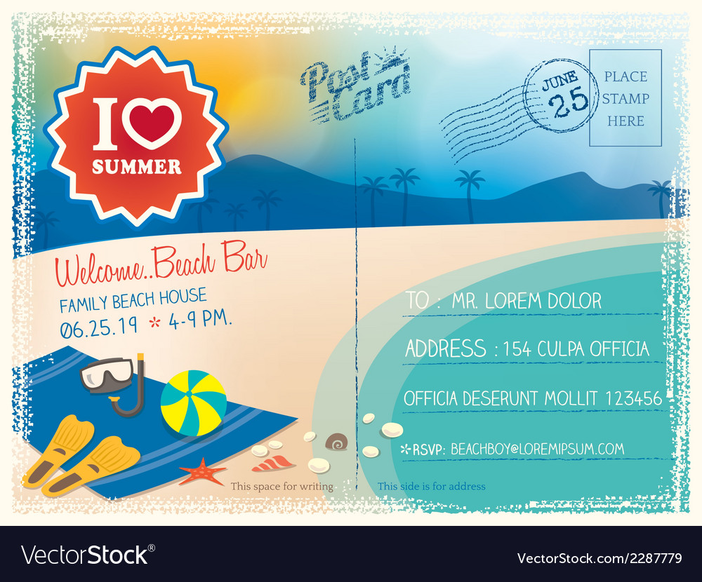 Summer postcard background vector | Price: 1 Credit (USD $1)