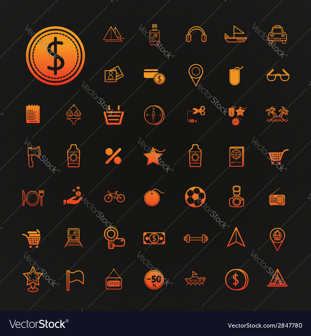 46 icons shopping and travel set vector | Price: 1 Credit (USD $1)