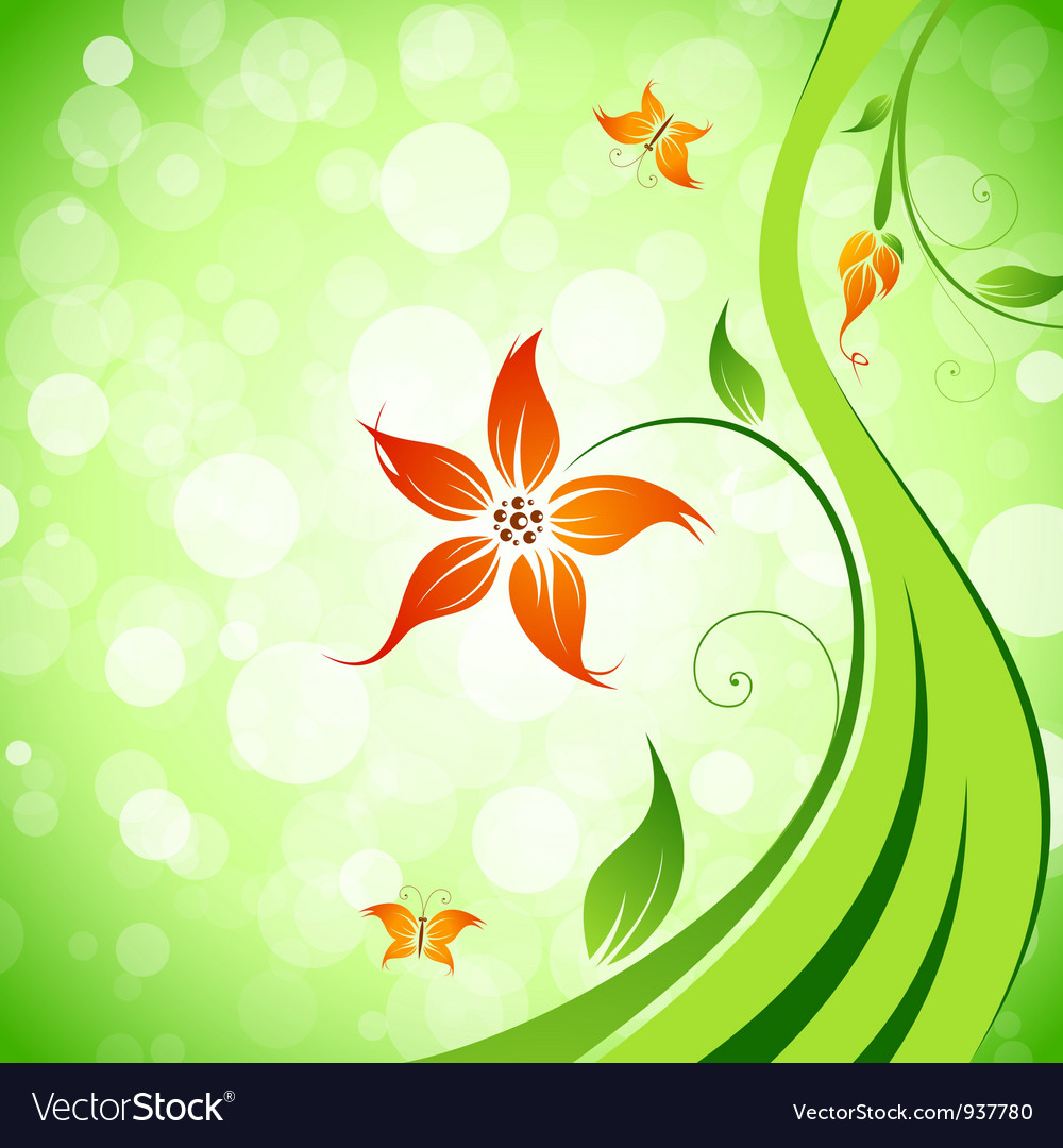 Abstract flower background with butterflies vector | Price: 1 Credit (USD $1)