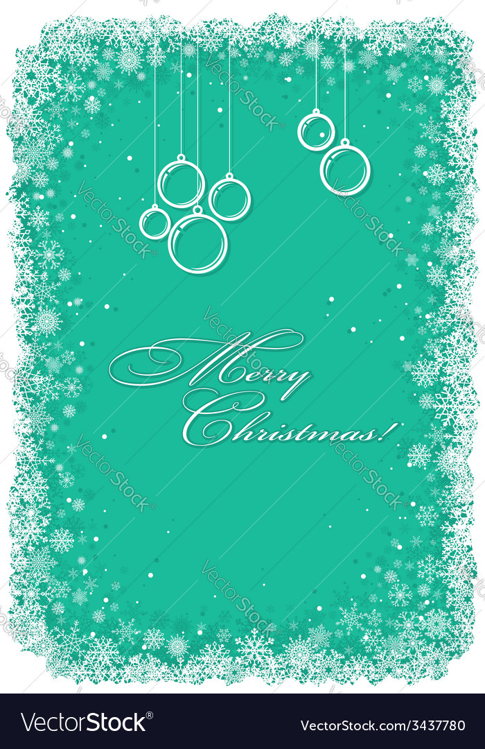 Christmas frame with snowflakes over green vector | Price: 1 Credit (USD $1)