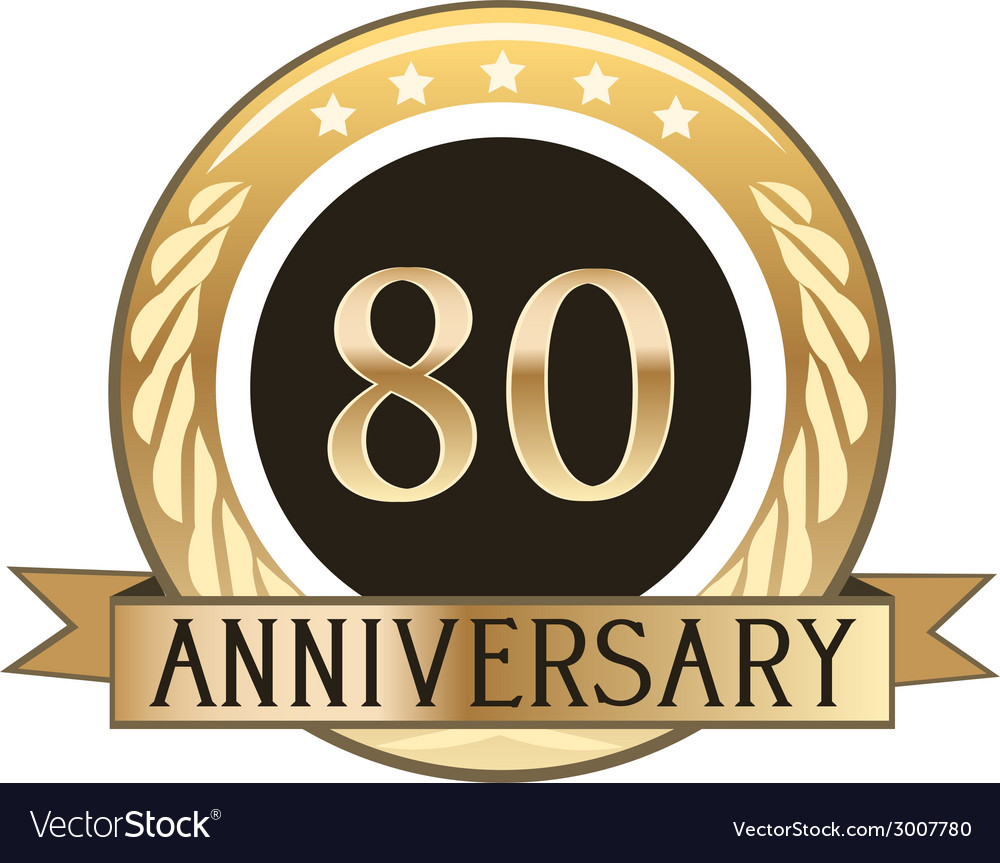 Eighty year anniversary badge vector | Price: 1 Credit (USD $1)