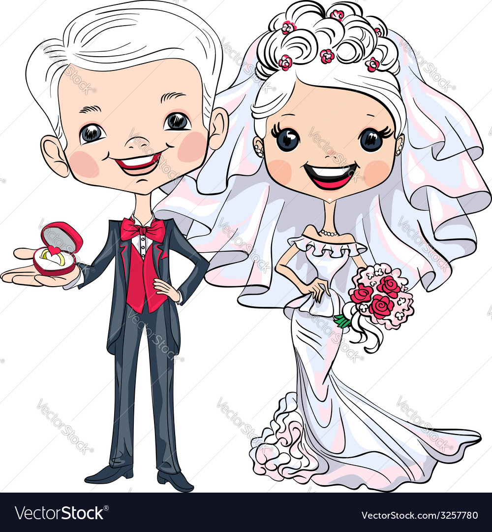 Fashionable beautiful bride and groom vector | Price: 1 Credit (USD $1)