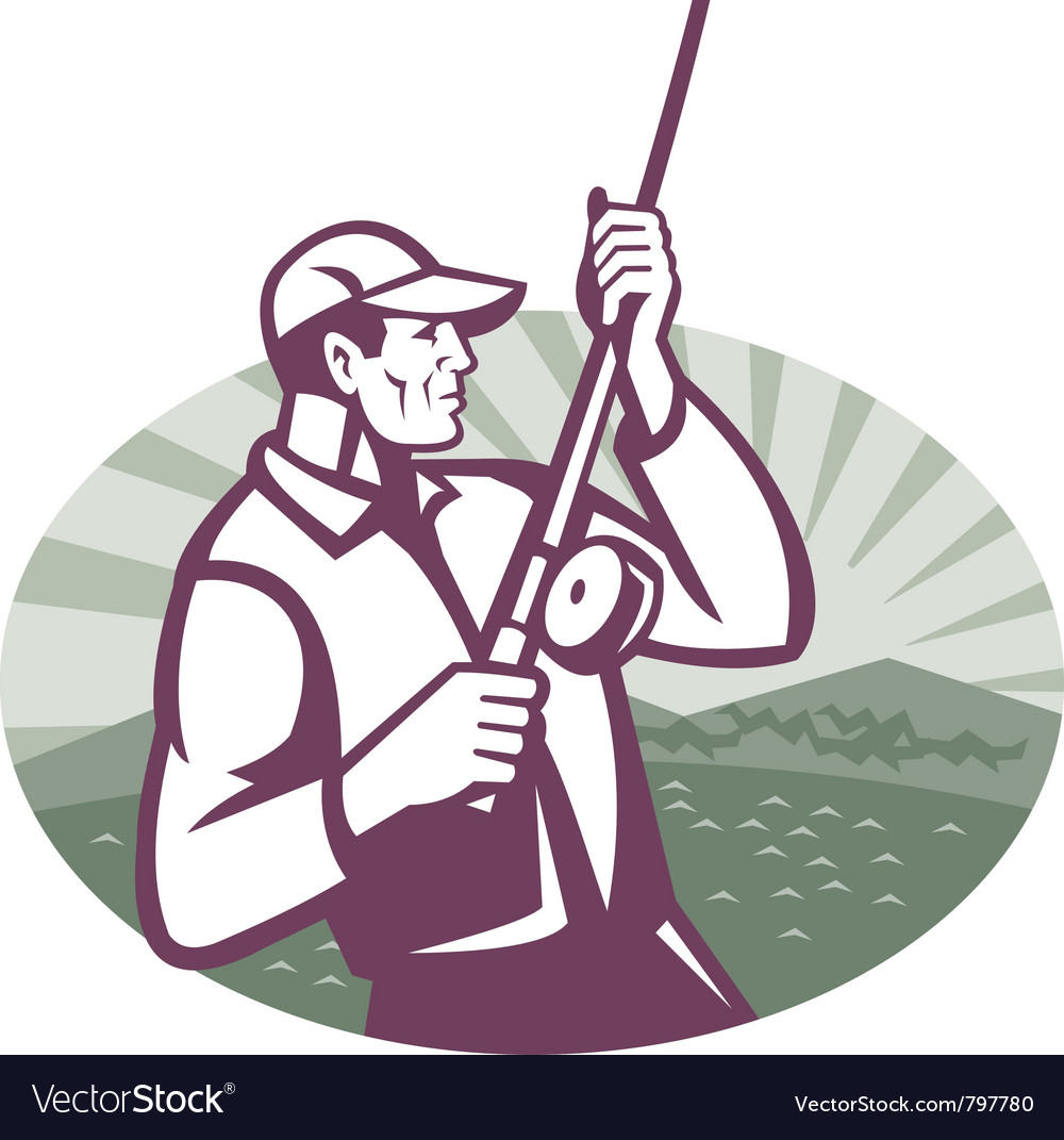 Fly fisherman vector | Price: 1 Credit (USD $1)