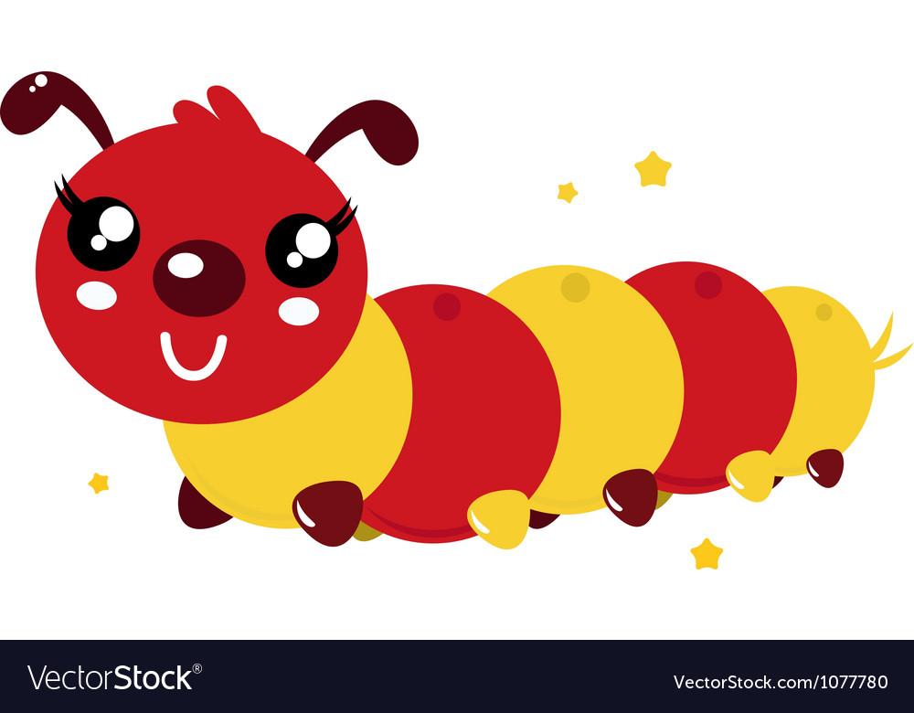 Happy cartoon caterpillar vector | Price: 1 Credit (USD $1)