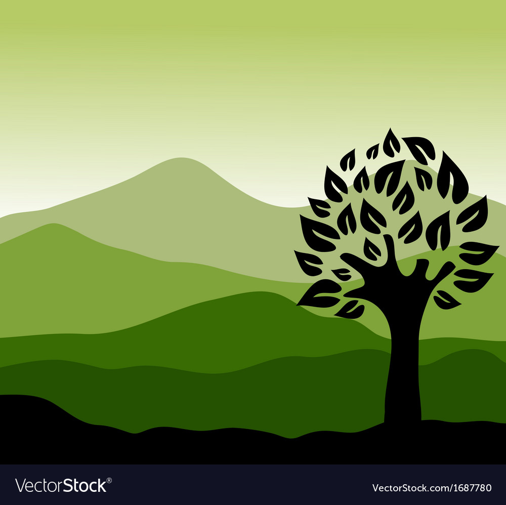 Minimalist landscape vector | Price: 1 Credit (USD $1)