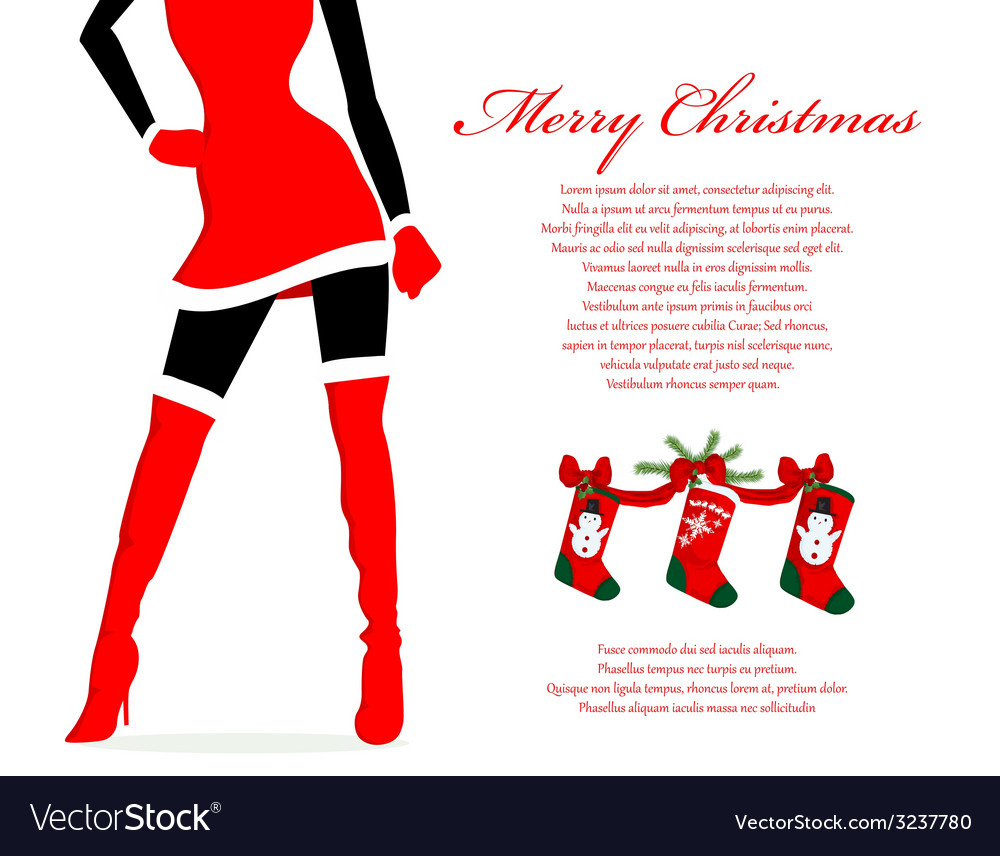 Santa girl christmas background vector | Price: 1 Credit (USD $1)