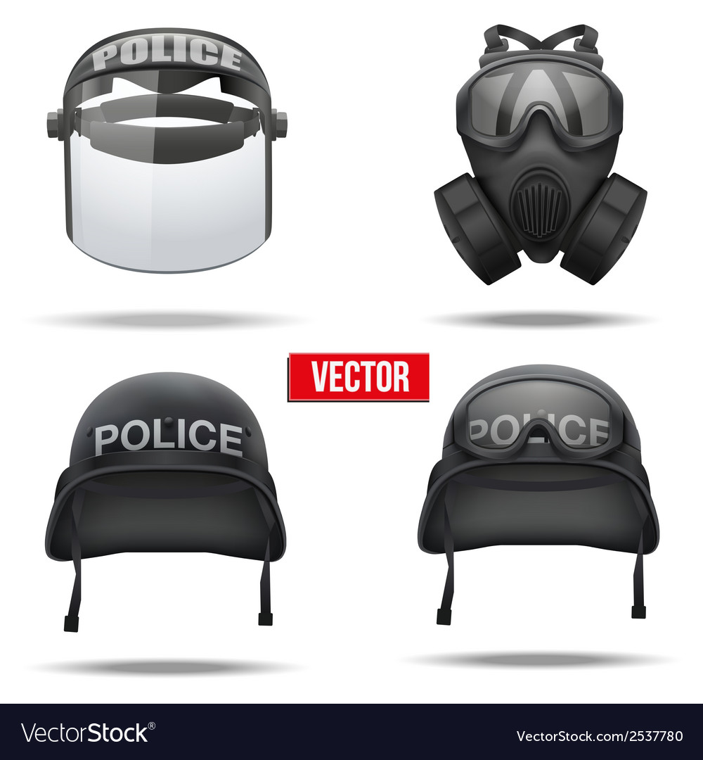 Set of police helmets and mask vector | Price: 1 Credit (USD $1)