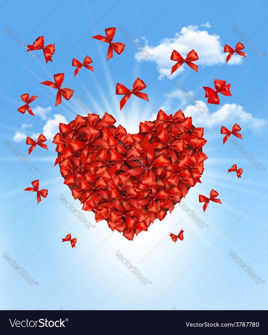 Valentines heart made of red bows vector | Price: 3 Credit (USD $3)