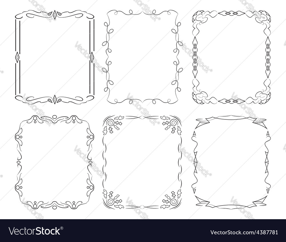 6 black rectangular frames vector | Price: 1 Credit (USD $1)