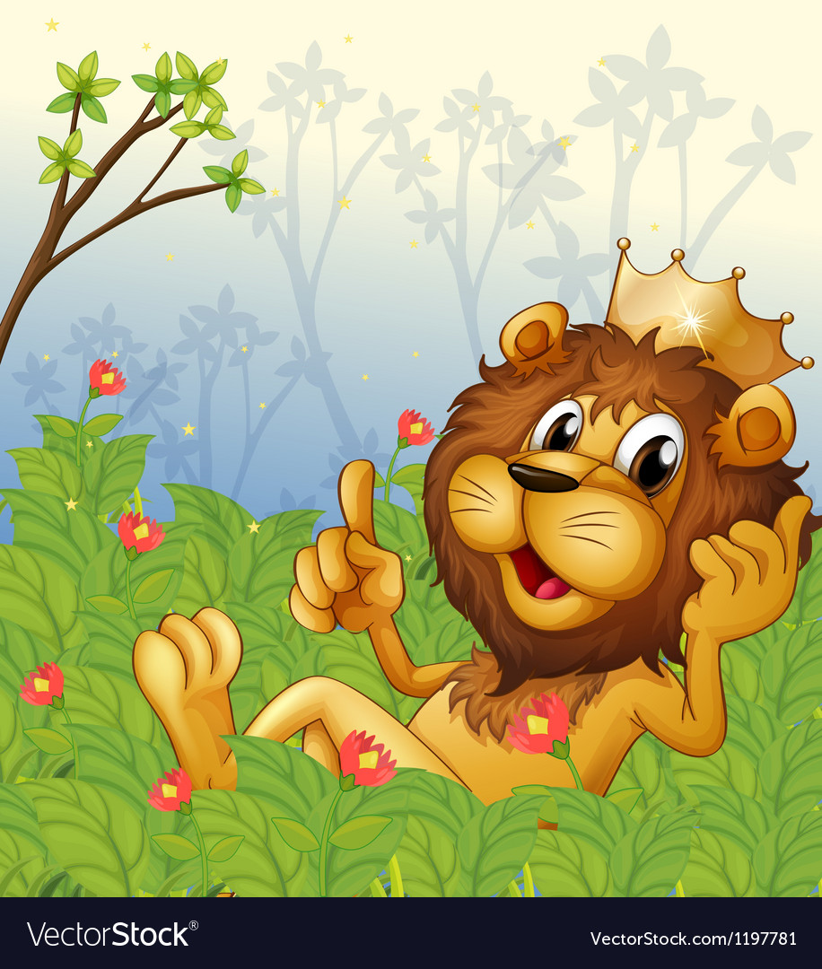 A lion with a crown at the forest vector | Price: 1 Credit (USD $1)