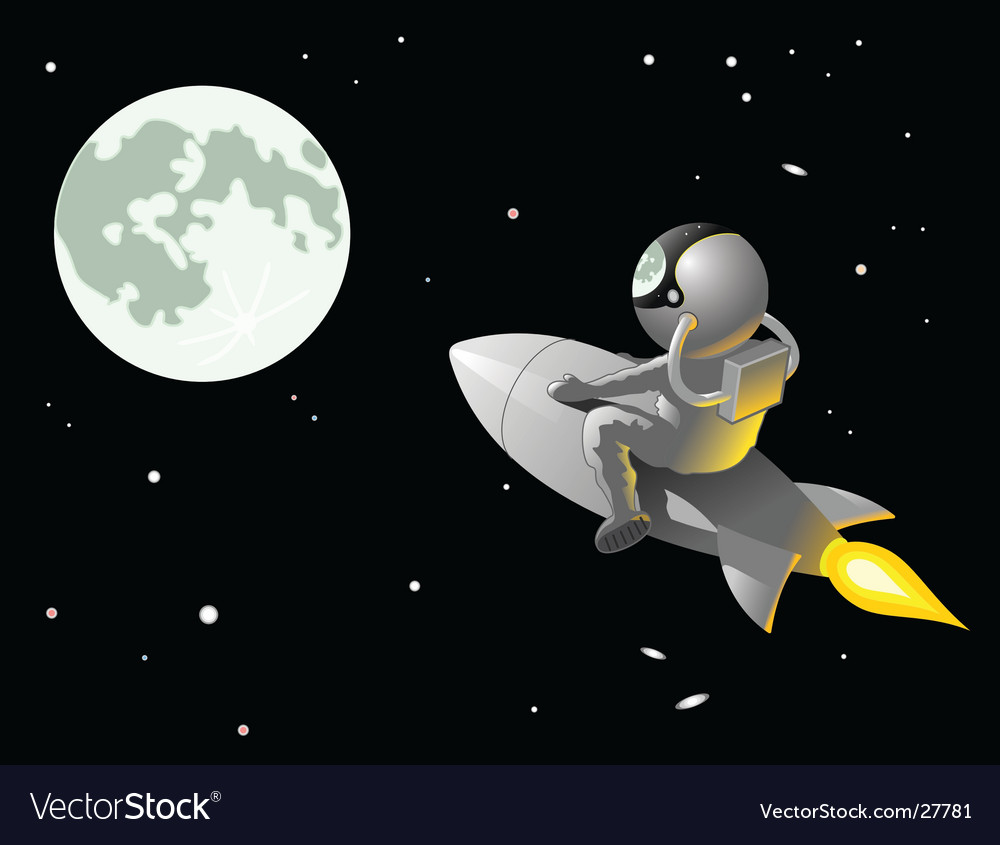 Astronaut to the moon vector | Price: 1 Credit (USD $1)