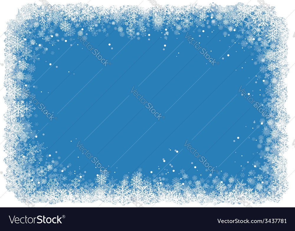 Christmas frame with snowflakes over blue vector | Price: 1 Credit (USD $1)