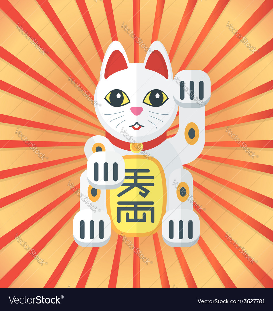 Flat style maneki cat icon on radiant background vector | Price: 1 Credit (USD $1)