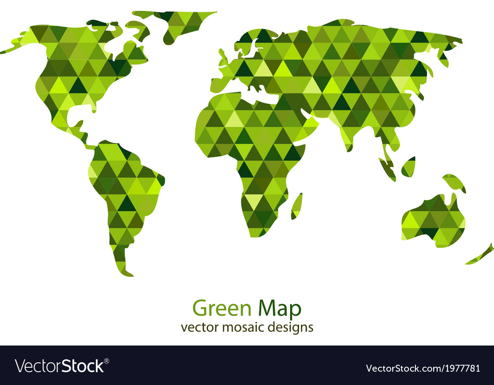 Green mosaic world map vector | Price: 1 Credit (USD $1)