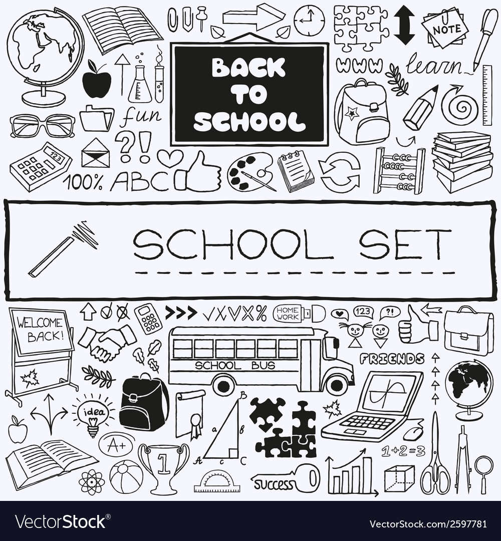Hand drawn school icons set vector | Price: 1 Credit (USD $1)