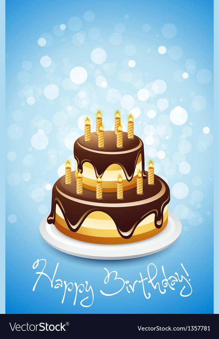 Happy birthday card with cake vector | Price: 1 Credit (USD $1)