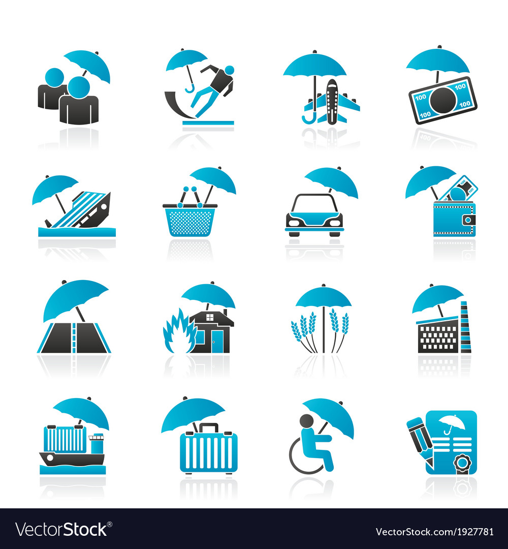 Insurance and business icons vector | Price: 1 Credit (USD $1)