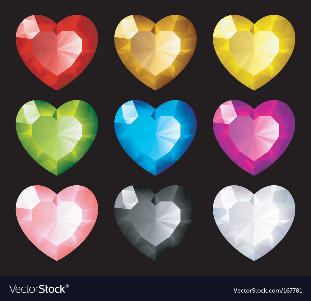 Jewel hearts set vector | Price: 1 Credit (USD $1)