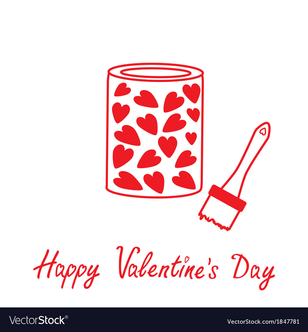 Love paint with hearts inside happy valentines day vector | Price: 1 Credit (USD $1)