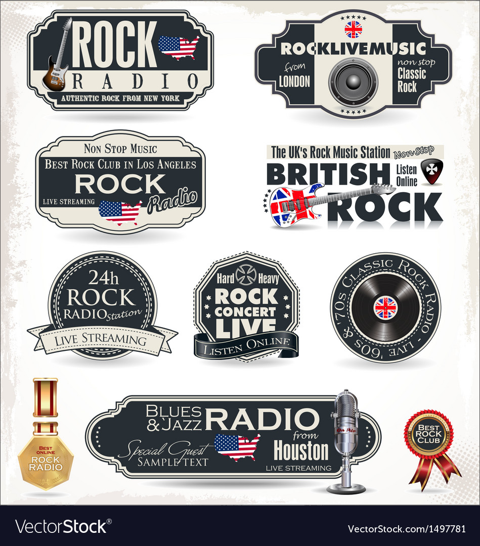 Rock radio stamps and labels vector | Price: 3 Credit (USD $3)