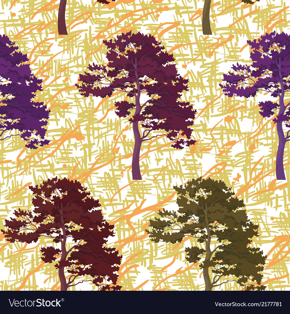 Seamless trees and abstract pattern vector | Price: 1 Credit (USD $1)