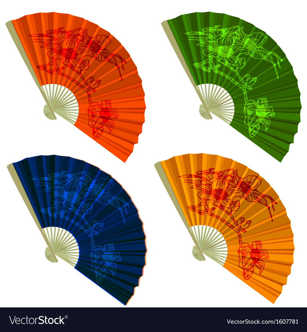 Set traditional folding fans with flowers vector | Price: 1 Credit (USD $1)