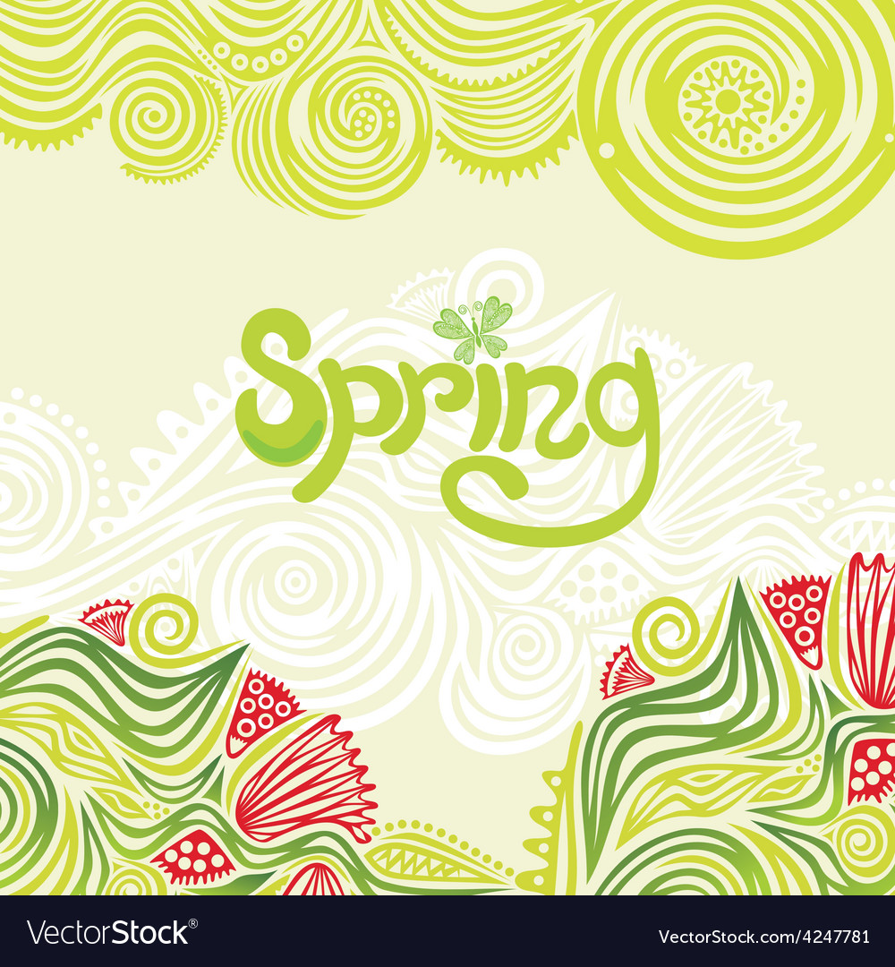 Spring nature pattern green background vector | Price: 1 Credit (USD $1)