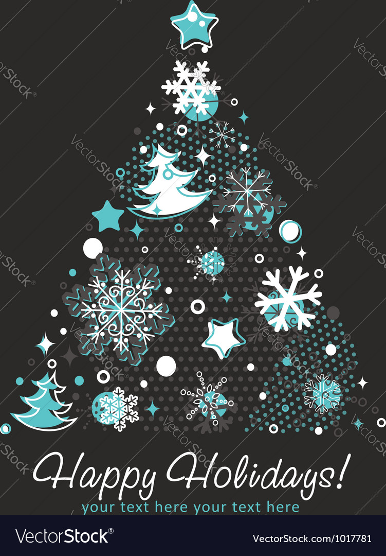 Stylized christmas tree shaped card with snowflake vector | Price: 1 Credit (USD $1)