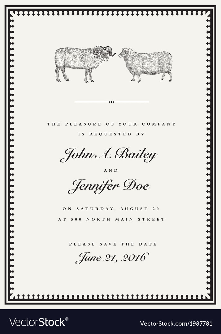 Vintage sheep and ram wedding invite vector | Price: 1 Credit (USD $1)
